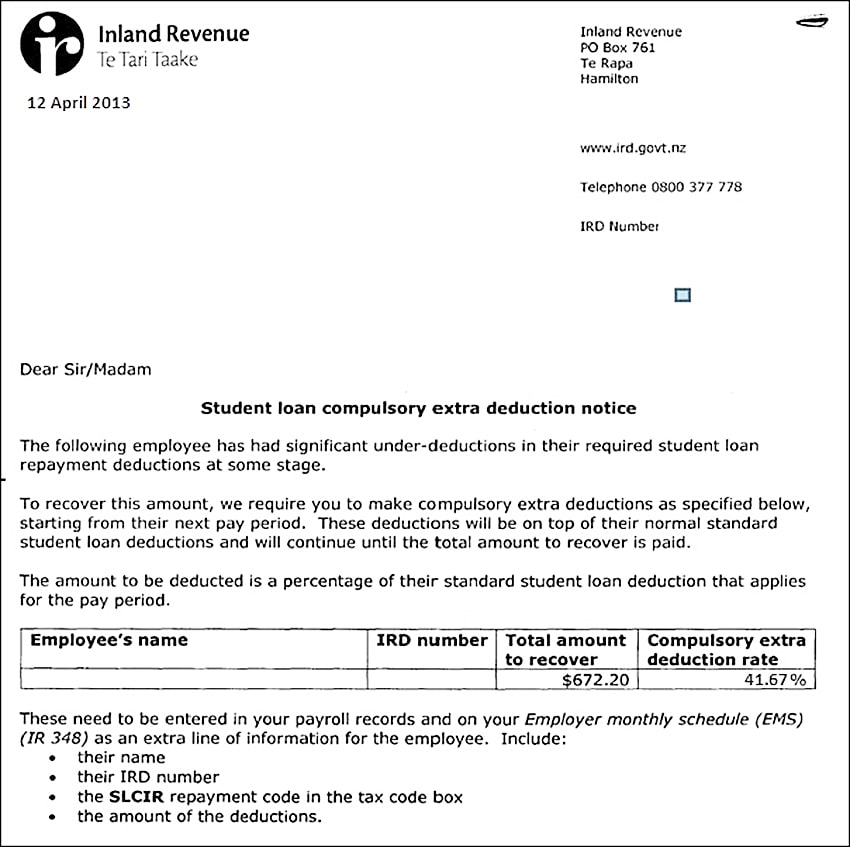 IRD's Student Loan Notice Letter